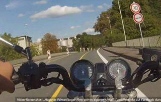 Motorad Fahranfänger filmt eigenen Unfall