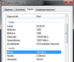 Video Datei-Eigenschaften (Win7)