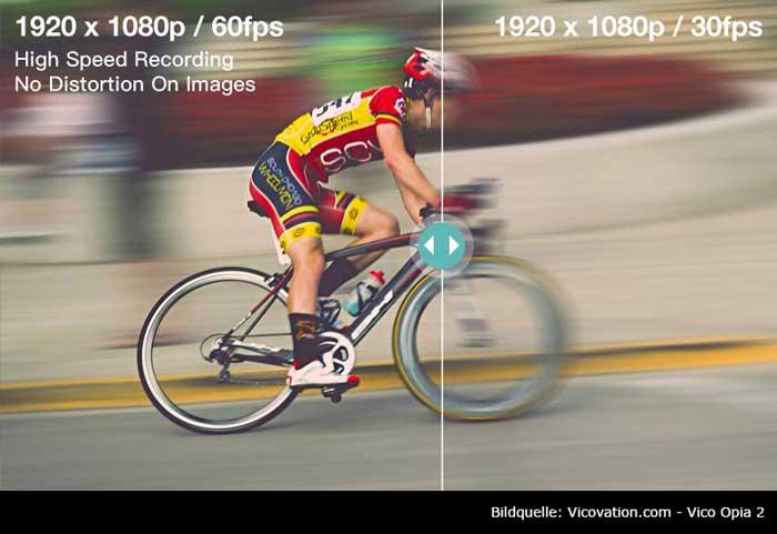 VicoVation Werbung für schärfere Videos bei 60fps